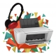 HP DESKJET 1515 + MAXELL HEADPHONE